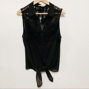 2/$20 Black Button-Down Sleeveless Blouse